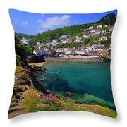 Polperro Harbor Throw Pillow
