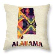Polygon Mosaic Parchment Map Alabama Throw Pillow