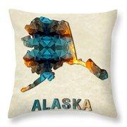 Polygon Mosaic Parchment Map Alaska Throw Pillow