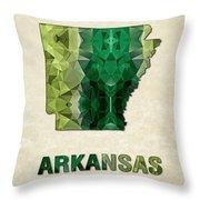 Polygon Mosaic Parchment Map Arkansas Throw Pillow