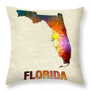 Polygon Mosaic Parchment Map Florida Throw Pillow