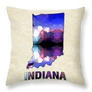 Polygon Mosaic Parchment Map Indiana Throw Pillow