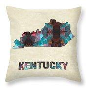 Polygon Mosaic Parchment Map Kentucky Throw Pillow