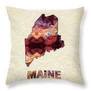 Polygon Mosaic Parchment Map Maine Throw Pillow
