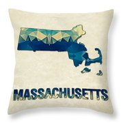 Polygon Mosaic Parchment Map Massachusetts Throw Pillow