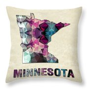 Polygon Mosaic Parchment Map Minnesota Throw Pillow