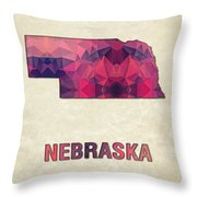 Polygon Mosaic Parchment Map Nebraska Throw Pillow