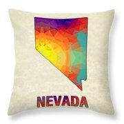 Polygon Mosaic Parchment Map Nevada Throw Pillow