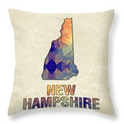 Polygon Mosaic Parchment Map New Hampshire Throw Pillow
