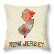 Polygon Mosaic Parchment Map New Jersey Throw Pillow