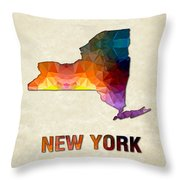 Polygon Mosaic Parchment Map New York Throw Pillow