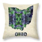 Polygon Mosaic Parchment Map Ohio Throw Pillow