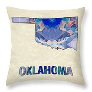 Polygon Mosaic Parchment Map Oklahoma Throw Pillow