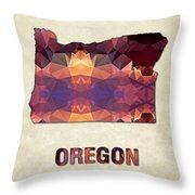 Polygon Mosaic Parchment Map Oregon Throw Pillow