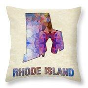 Polygon Mosaic Parchment Map Rhode Island Throw Pillow