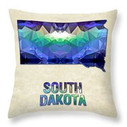 Polygon Mosaic Parchment Map South Dakota Throw Pillow