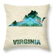 Polygon Mosaic Parchment Map Virginia Throw Pillow