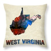 Polygon Mosaic Parchment Map West Virginia Throw Pillow