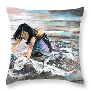 Polynesian Child Playing With Water Throw Pillow