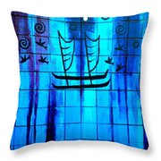 Polynesian Graffiti  Throw Pillow by Karon Melillo DeVega