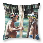 Polynesian Men With Spears Throw Pillow
