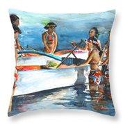 Polynesian Vahines Around Canoe Throw Pillow