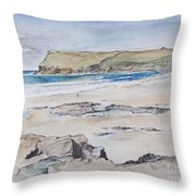 Polzeath And Pentire Head Throw Pillow