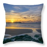 Polzeath Sunset 3 Throw Pillow
