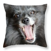 Pom Yawn Throw Pillow