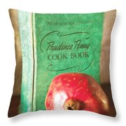 Pomegranate And Vintage Cook Book Still Life Throw Pillow