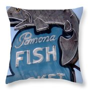 Pomona Fish Market Sign Throw Pillow