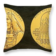 Ponca Tribe Code Talkers Bronze Medal Art Throw Pillow