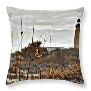 Ponce Inlet Lighthouse From The Dunes Throw Pillow