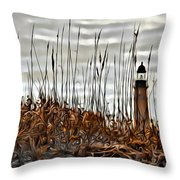 Ponce Inlet Lighthouse In Sea Grass Throw Pillow