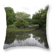 Pond And Bridge Throw Pillow