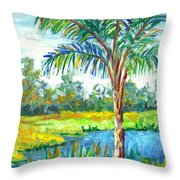 Pond And Palm Throw Pillow