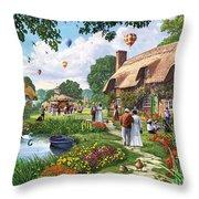 Pond Cottage Throw Pillow