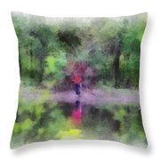 Pond Fishing Photo Art Throw Pillow