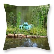 Pond Frog Throw Pillow