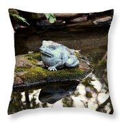 Pond Frog Statuette Throw Pillow