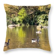 Pond Geese Throw Pillow