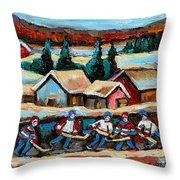 Pond Hockey 2 Throw Pillow by Carole Spandau