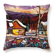 Pond Hockey Birch Tree And Mountain Throw Pillow