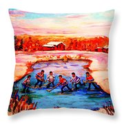 Pond Hockey Game By Montreal Hockey Artist Carole Spandau Throw Pillow