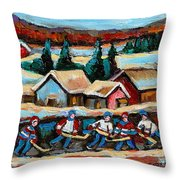 Pond Hockey Game In The Country Throw Pillow