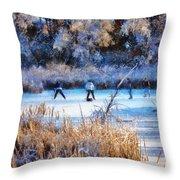 Pond Hockey - Painterly Throw Pillow