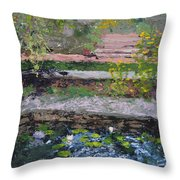 Pond In The English Walled Gardens Throw Pillow
