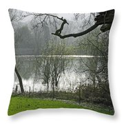 Pond Near Home Farm - Ilam Throw Pillow