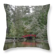 Pond Of Green Trees  Throw Pillow