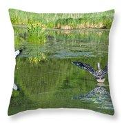 Pond Pairs Dancing Throw Pillow